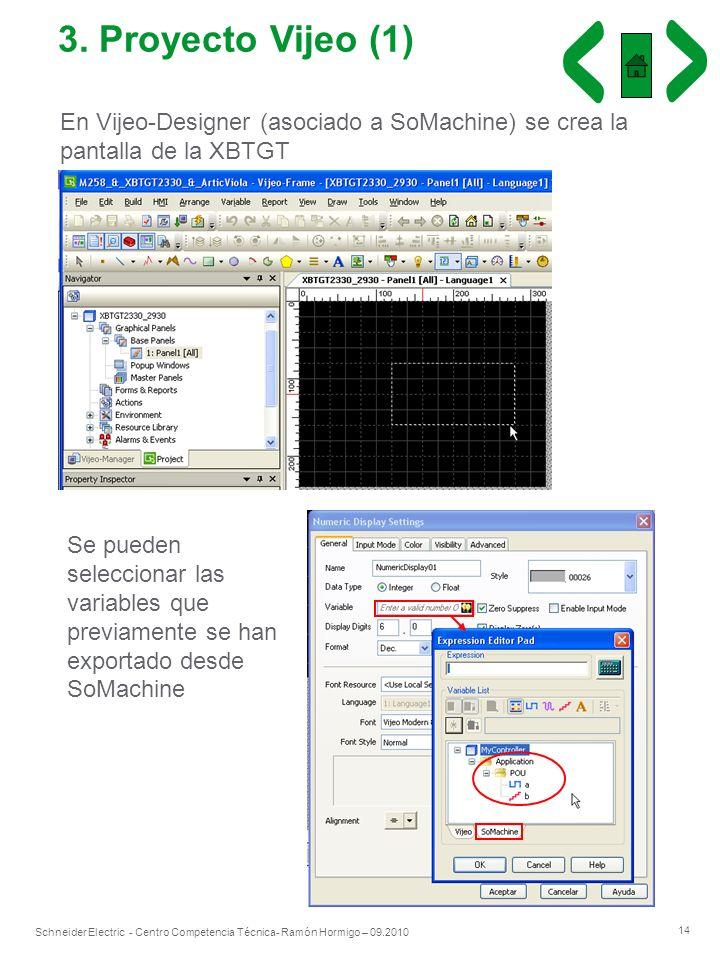 14 Schneider Electric - Centro Competencia Técnica- Ramón Hormigo – 09.2010 3. Proyecto Vijeo (1) En Vijeo-Designer (asociado a SoMachine) se crea la