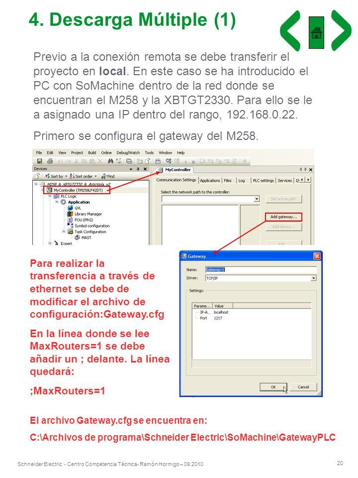 20 Schneider Electric - Centro Competencia Técnica- Ramón Hormigo – 09.2010 4. Descarga Múltiple (1) Previo a la conexión remota se debe transferir el