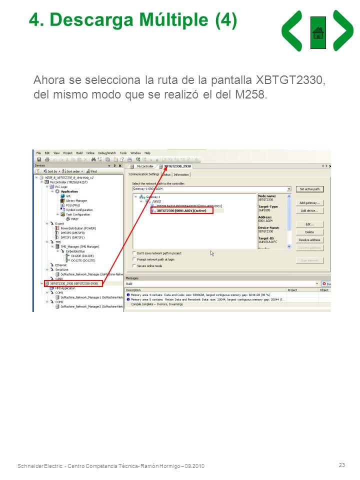 23 Schneider Electric - Centro Competencia Técnica- Ramón Hormigo – 09.2010 4. Descarga Múltiple (4) Ahora se selecciona la ruta de la pantalla XBTGT2
