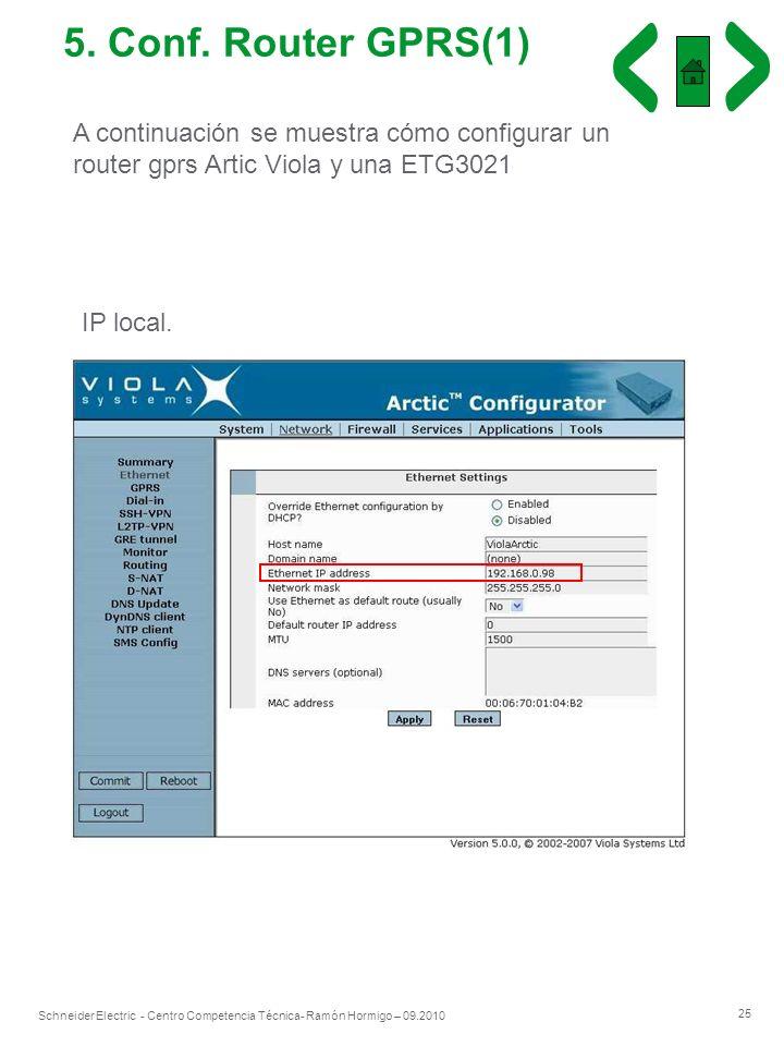 25 Schneider Electric - Centro Competencia Técnica- Ramón Hormigo – 09.2010 5. Conf. Router GPRS(1) A continuación se muestra cómo configurar un route