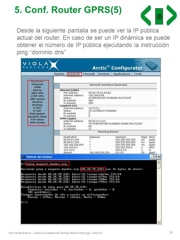 29 Schneider Electric - Centro Competencia Técnica- Ramón Hormigo – 09.2010 5. Conf. Router GPRS(5) Desde la siguiente pantalla se puede ver la IP púb