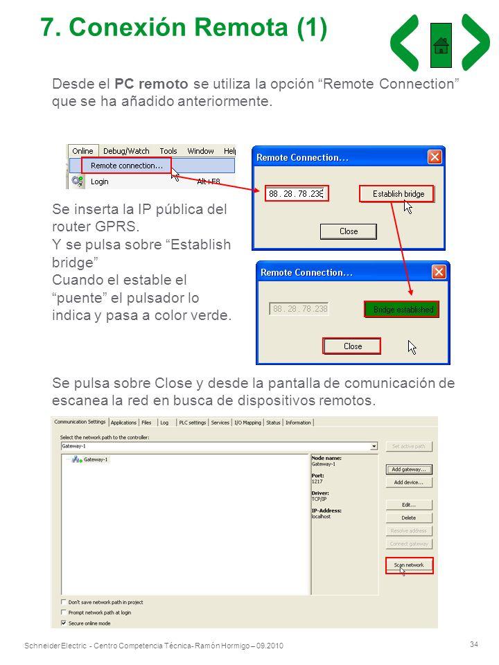 34 Schneider Electric - Centro Competencia Técnica- Ramón Hormigo – 09.2010 7. Conexión Remota (1) Desde el PC remoto se utiliza la opción Remote Conn