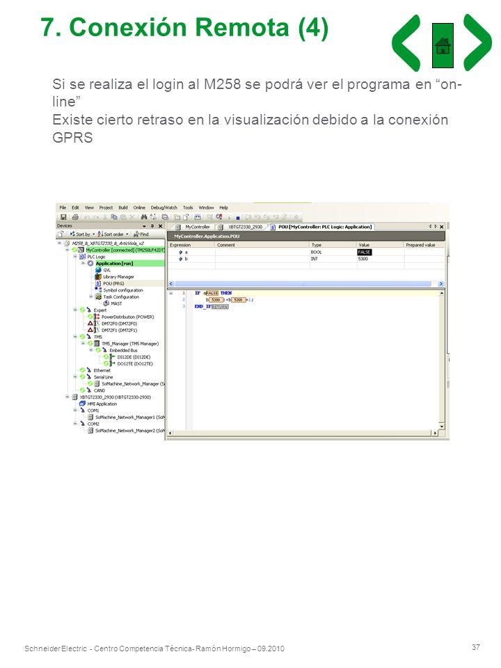 37 Schneider Electric - Centro Competencia Técnica- Ramón Hormigo – 09.2010 7. Conexión Remota (4) Si se realiza el login al M258 se podrá ver el prog