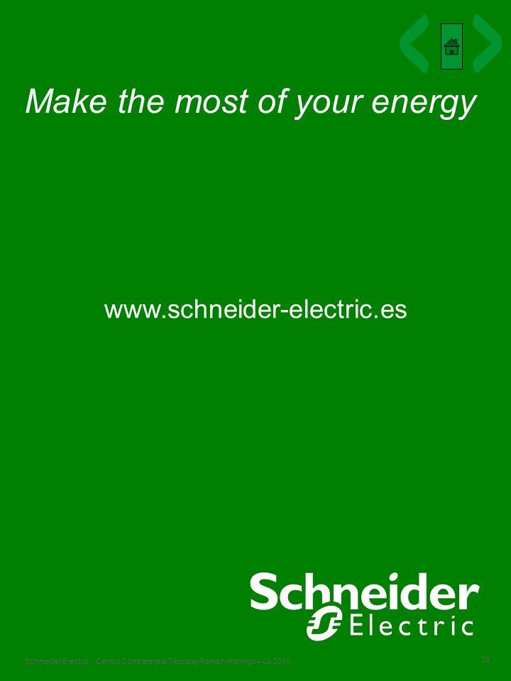 39 Schneider Electric - Centro Competencia Técnica- Ramón Hormigo – 09.2010 Make the most of your energy www.schneider-electric.es