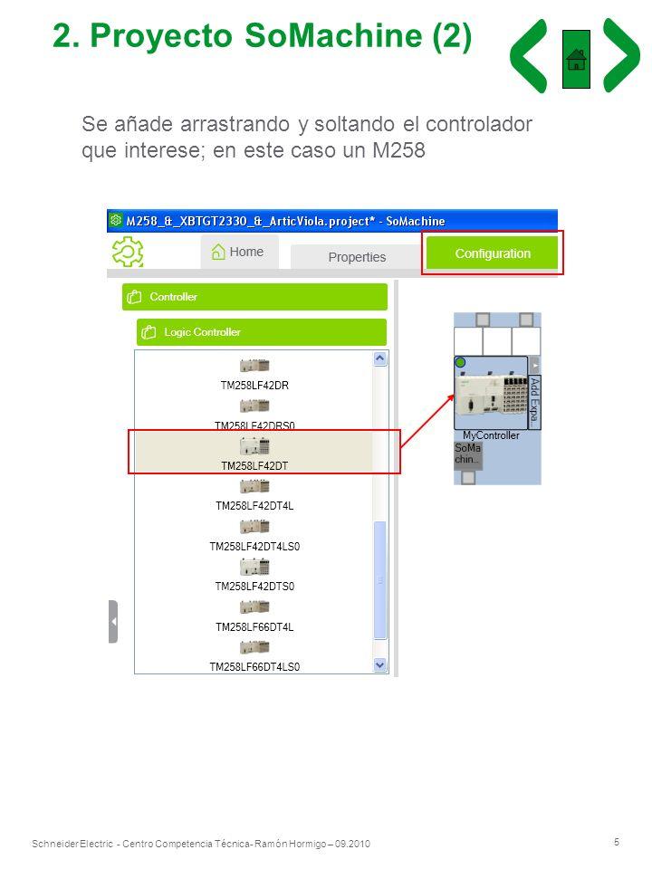5 Schneider Electric - Centro Competencia Técnica- Ramón Hormigo – 09.2010 2. Proyecto SoMachine (2) Se añade arrastrando y soltando el controlador qu