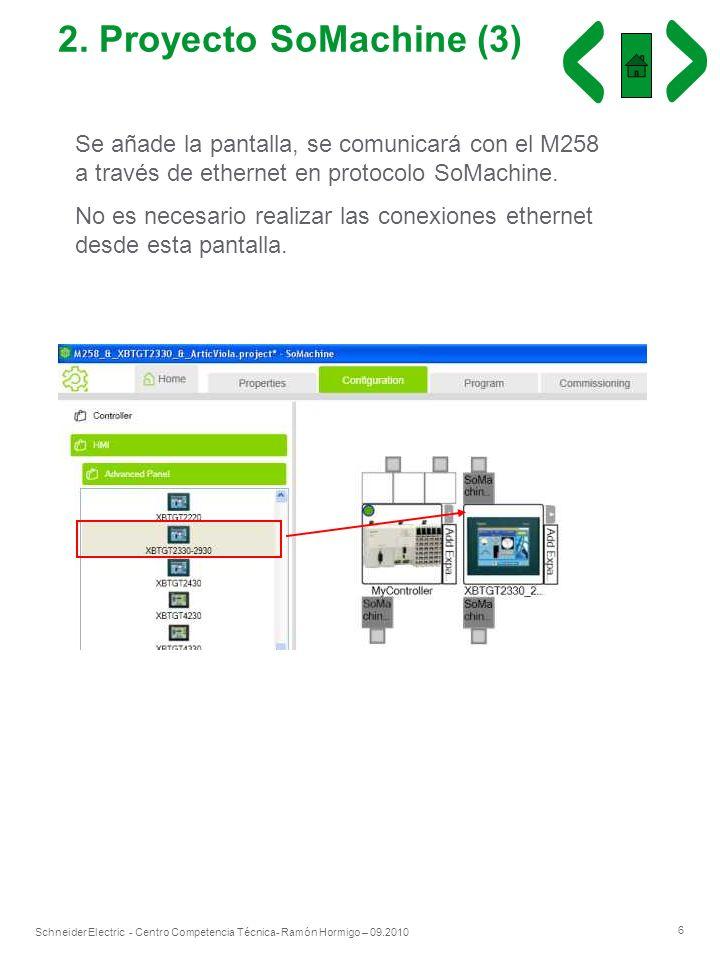 6 Schneider Electric - Centro Competencia Técnica- Ramón Hormigo – 09.2010 2. Proyecto SoMachine (3) Se añade la pantalla, se comunicará con el M258 a