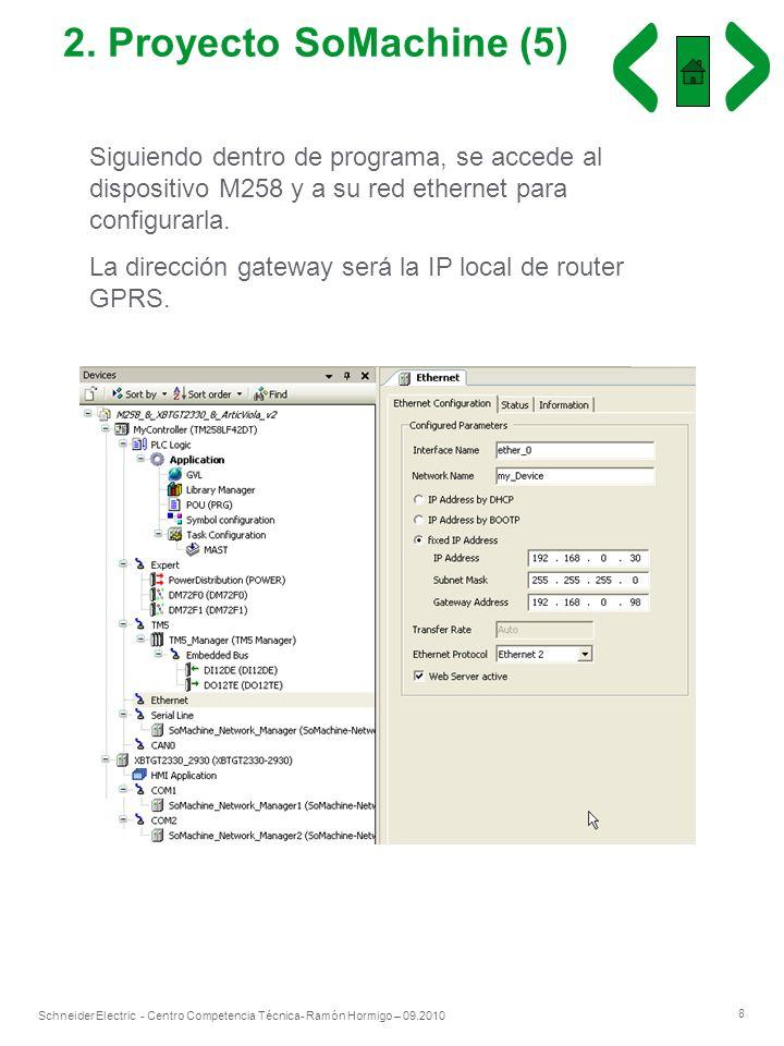 8 Schneider Electric - Centro Competencia Técnica- Ramón Hormigo – 09.2010 2. Proyecto SoMachine (5) Siguiendo dentro de programa, se accede al dispos