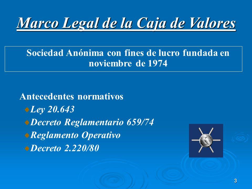 3 Antecedentes normativos Ley 20.643 Decreto Reglamentario 659/74 Reglamento Operativo Decreto 2.220/80 Marco Legal de la Caja de Valores Sociedad Anó