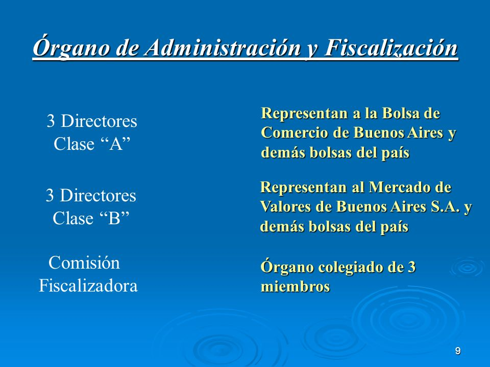 9 Órgano de Administración y Fiscalización 3 Directores Clase A Representan a la Bolsa de Comercio de Buenos Aires y demás bolsas del país Representan