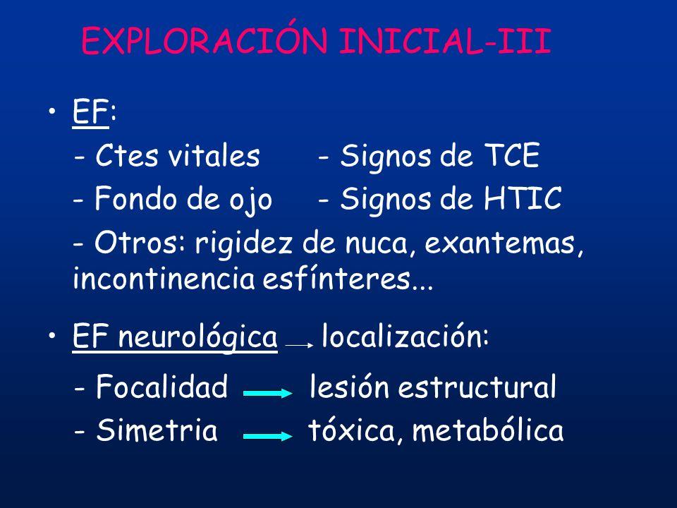 EF: - Ctes vitales - Signos de TCE - Fondo de ojo- Signos de HTIC - Otros: rigidez de nuca, exantemas, incontinencia esfínteres... EF neurológica loca