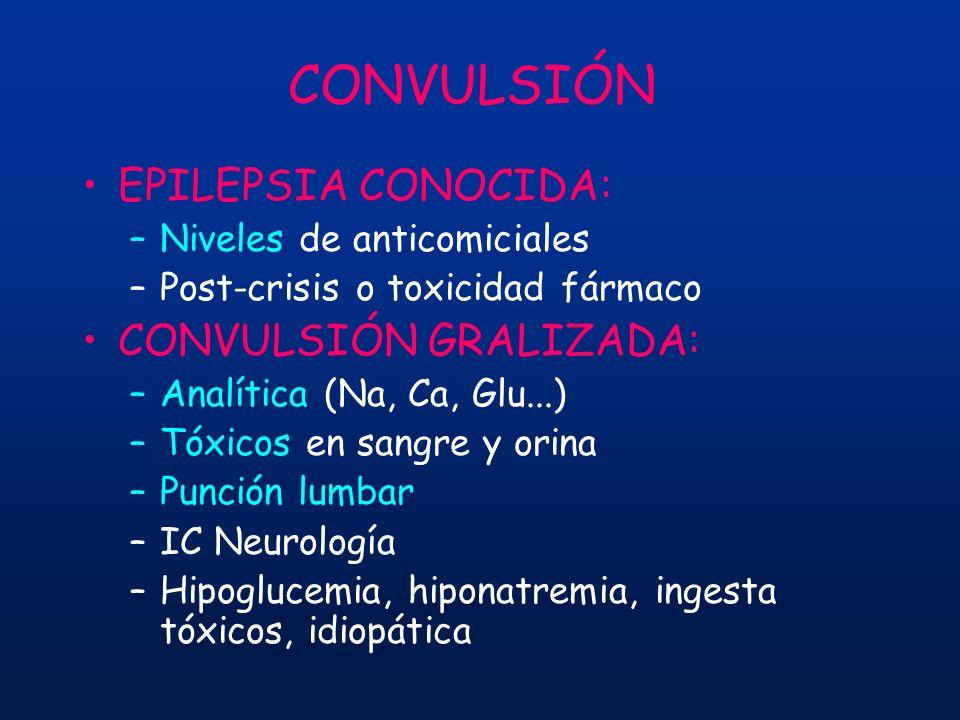 CONVULSIÓN EPILEPSIA CONOCIDA: –Niveles de anticomiciales –Post-crisis o toxicidad fármaco CONVULSIÓN GRALIZADA: –Analítica (Na, Ca, Glu...) –Tóxicos
