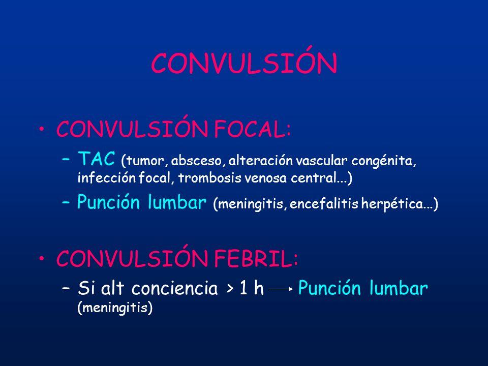 CONVULSIÓN CONVULSIÓN FOCAL: –TAC (tumor, absceso, alteración vascular congénita, infección focal, trombosis venosa central...) –Punción lumbar (menin