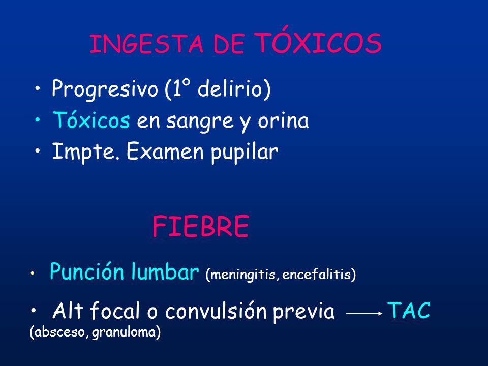 INGESTA DE TÓXICOS Progresivo (1° delirio) Tóxicos en sangre y orina Impte. Examen pupilar FIEBRE Punción lumbar (meningitis, encefalitis) Alt focal o