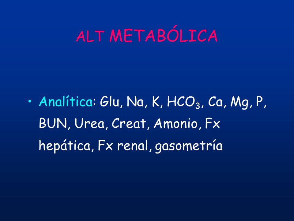 ALT METABÓLICA Analítica: Glu, Na, K, HCO 3, Ca, Mg, P, BUN, Urea, Creat, Amonio, Fx hepática, Fx renal, gasometría