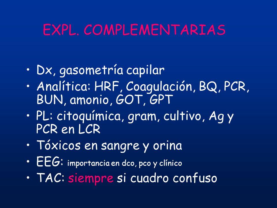 EXPL. COMPLEMENTARIAS Dx, gasometría capilar Analítica: HRF, Coagulación, BQ, PCR, BUN, amonio, GOT, GPT PL: citoquímica, gram, cultivo, Ag y PCR en L