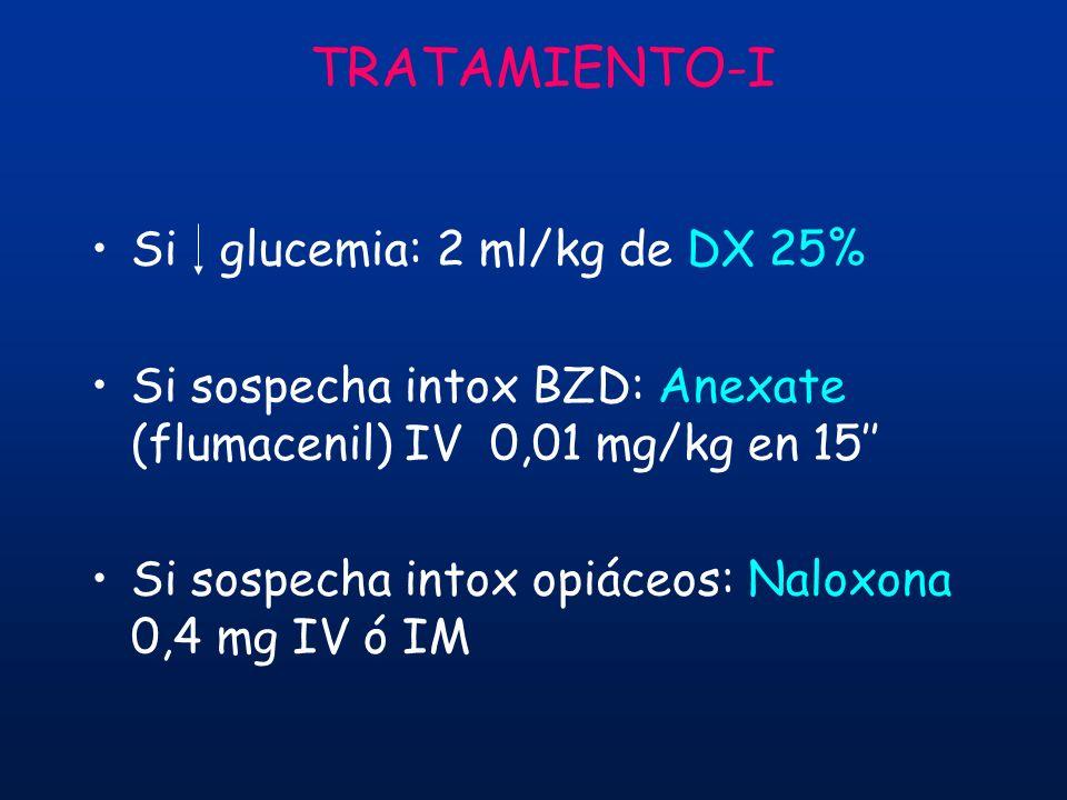 TRATAMIENTO-I Si glucemia: 2 ml/kg de DX 25% Si sospecha intox BZD: Anexate (flumacenil) IV 0,01 mg/kg en 15 Si sospecha intox opiáceos: Naloxona 0,4