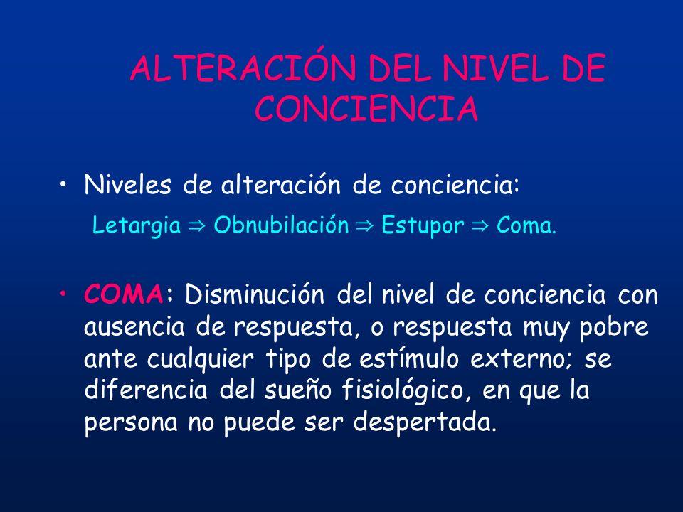 ALTERACIÓN DEL NIVEL DE CONCIENCIA Niveles de alteración de conciencia: Letargia Obnubilación Estupor Coma. COMA: Disminución del nivel de conciencia