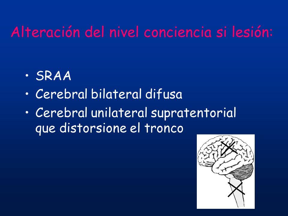 SRAA Cerebral bilateral difusa Cerebral unilateral supratentorial que distorsione el tronco Alteración del nivel conciencia si lesión: