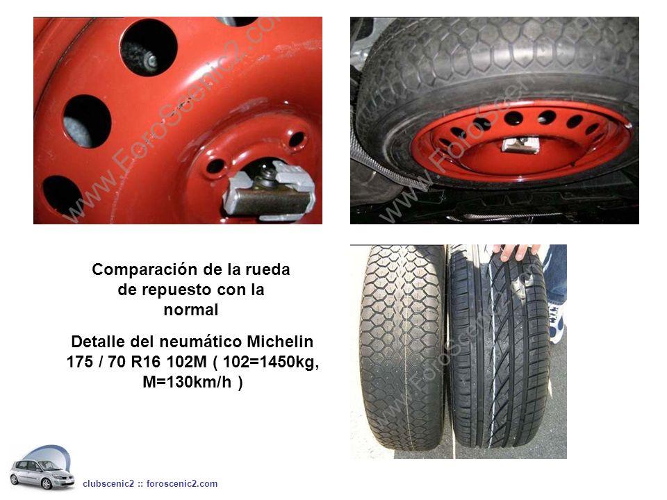 Comparación de la rueda de repuesto con la normal Detalle del neumático Michelin 175 / 70 R16 102M ( 102=1450kg, M=130km/h )
