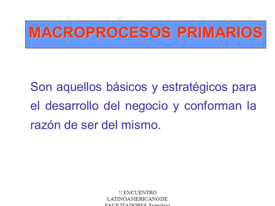 !! ENCUENTRO LATINOAMERICANO DE FACILITADORES. Francisco Fernández.Nov/2000 MACROPROCESOS PRIMARIOS Son aquellos básicos y estratégicos para el desarr