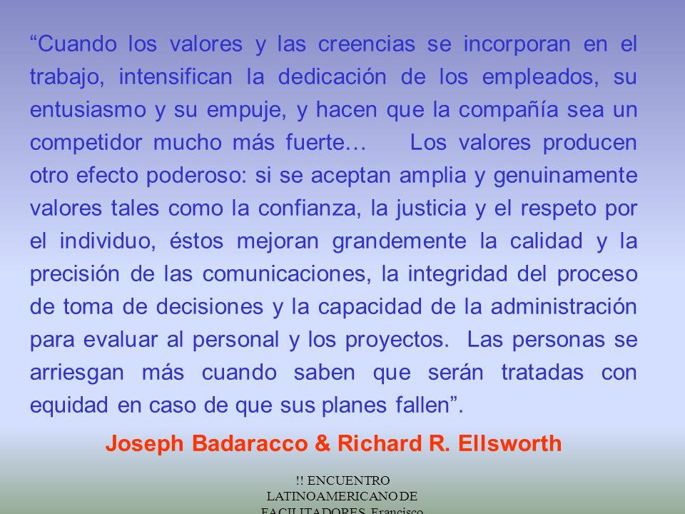 !! ENCUENTRO LATINOAMERICANO DE FACILITADORES. Francisco Fernández.Nov/2000 Cuando los valores y las creencias se incorporan en el trabajo, intensific