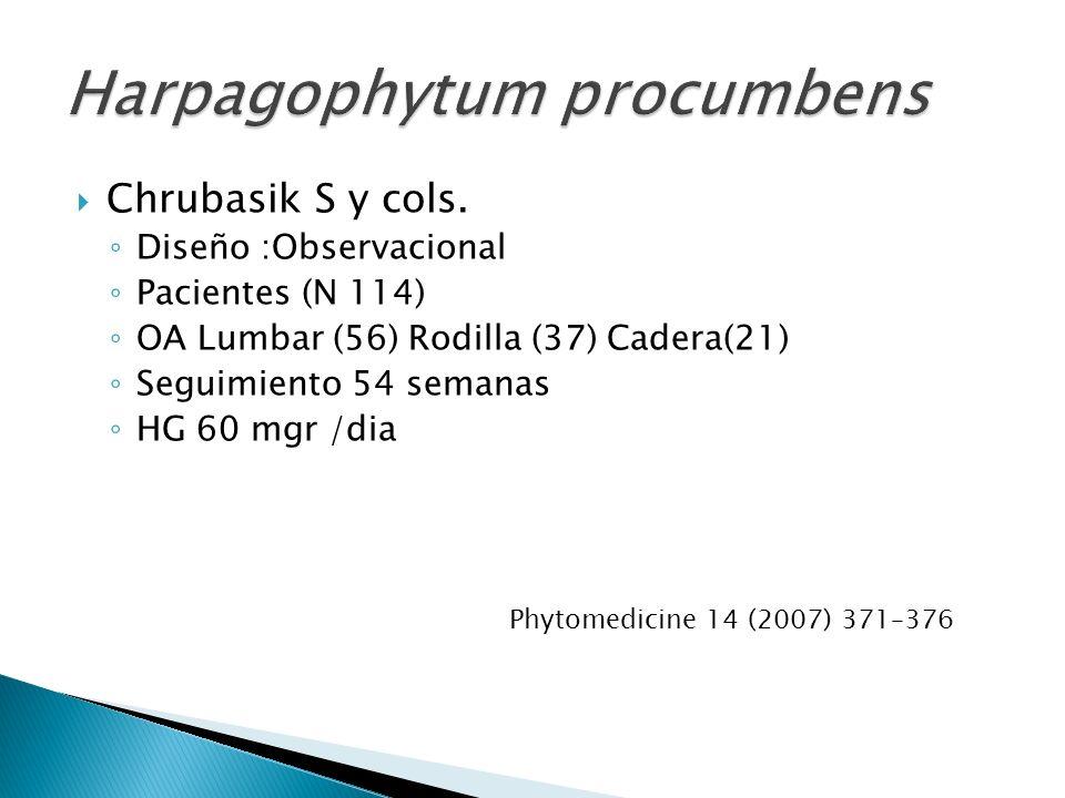 Chrubasik S y cols. Diseño :Observacional Pacientes (N 114) OA Lumbar (56) Rodilla (37) Cadera(21) Seguimiento 54 semanas HG 60 mgr /dia Phytomedicine