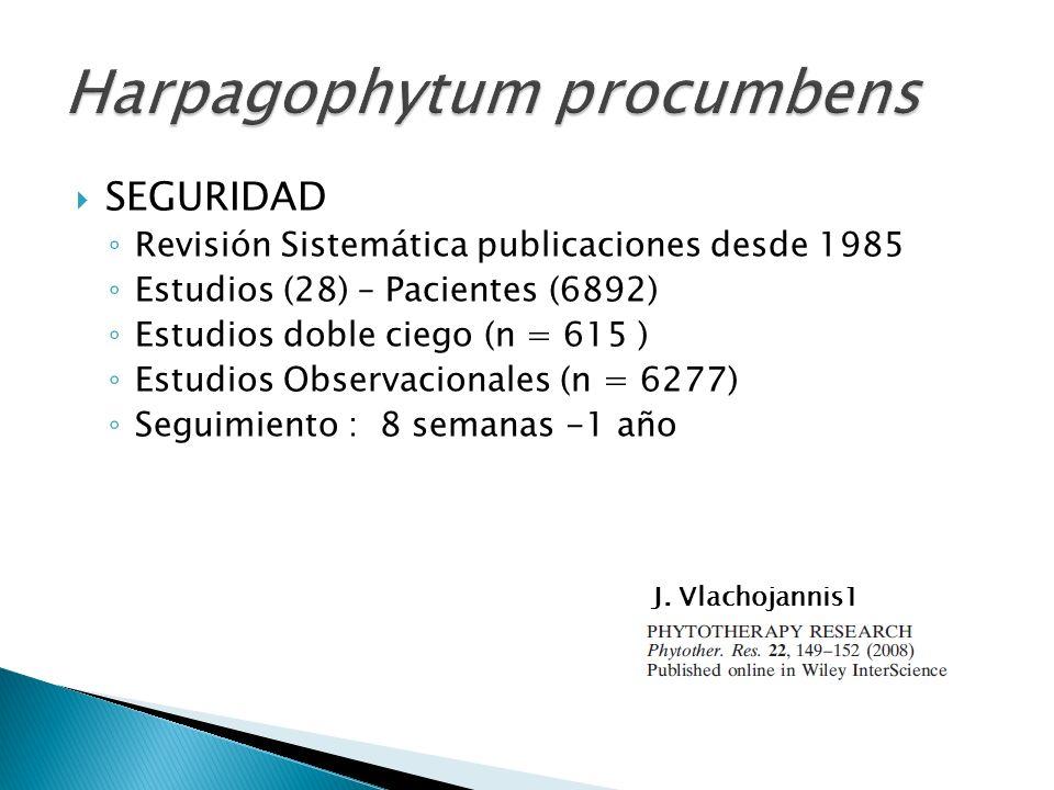 SEGURIDAD Revisión Sistemática publicaciones desde 1985 Estudios (28) – Pacientes (6892) Estudios doble ciego (n = 615 ) Estudios Observacionales (n =