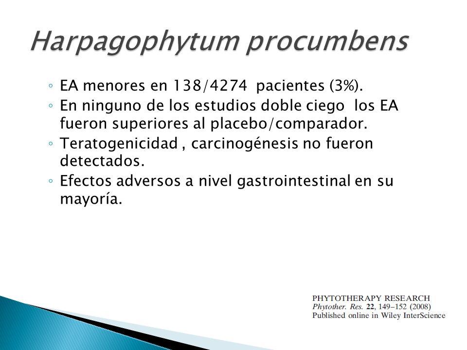 EA menores en 138/4274 pacientes (3%). En ninguno de los estudios doble ciego los EA fueron superiores al placebo/comparador. Teratogenicidad, carcino