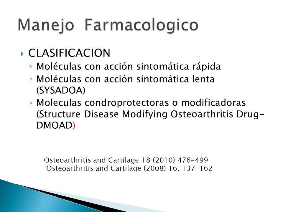 CLASIFICACION Moléculas con acción sintomática rápida Moléculas con acción sintomática lenta (SYSADOA) Moleculas condroprotectoras o modificadoras (St