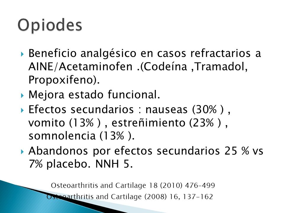 Beneficio analgésico en casos refractarios a AINE/Acetaminofen.(Codeína,Tramadol, Propoxifeno). Mejora estado funcional. Efectos secundarios : nauseas