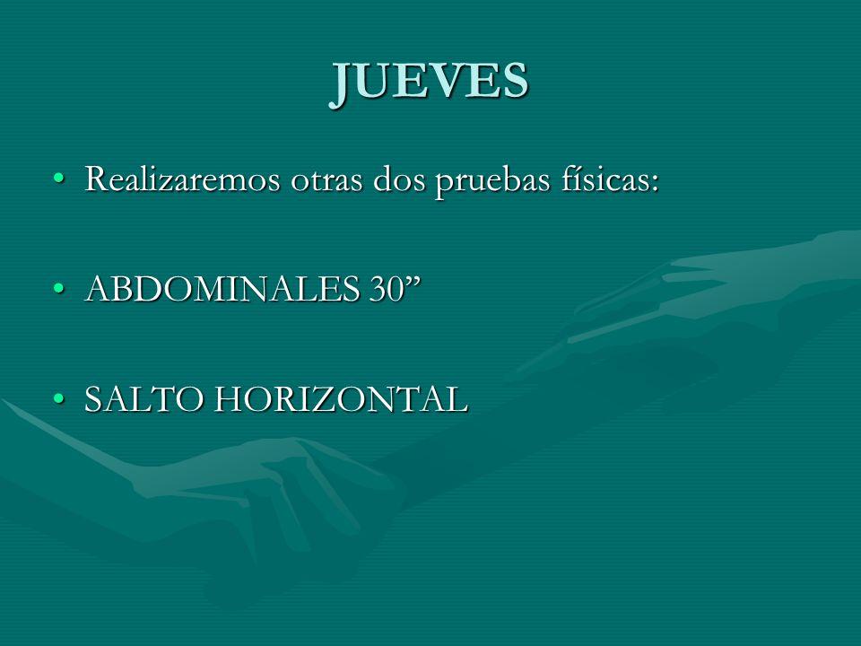 JUEVES Realizaremos otras dos pruebas físicas:Realizaremos otras dos pruebas físicas: ABDOMINALES 30ABDOMINALES 30 SALTO HORIZONTALSALTO HORIZONTAL