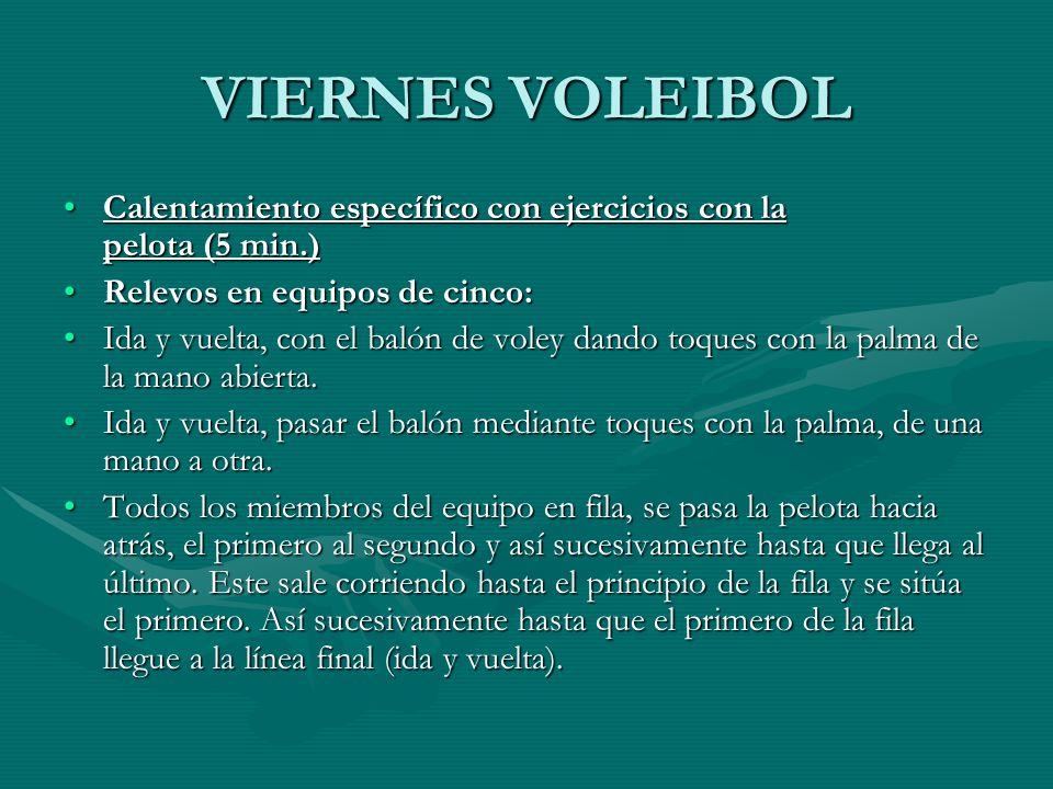 VIERNES VOLEIBOL Calentamiento específico con ejercicios con la pelota (5 min.)Calentamiento específico con ejercicios con la pelota (5 min.) Relevos