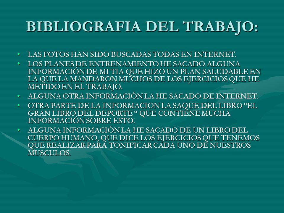 BIBLIOGRAFIA DEL TRABAJO: LAS FOTOS HAN SIDO BUSCADAS TODAS EN INTERNET.LAS FOTOS HAN SIDO BUSCADAS TODAS EN INTERNET. LOS PLANES DE ENTRENAMIENTO HE
