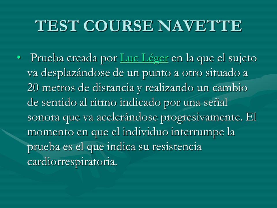 TEST COURSE NAVETTE Prueba creada por Luc Léger en la que el sujeto va desplazándose de un punto a otro situado a 20 metros de distancia y realizando