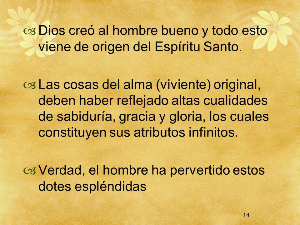 14 Dios creó al hombre bueno y todo esto viene de origen del Espíritu Santo. Las cosas del alma (viviente) original, deben haber reflejado altas cuali