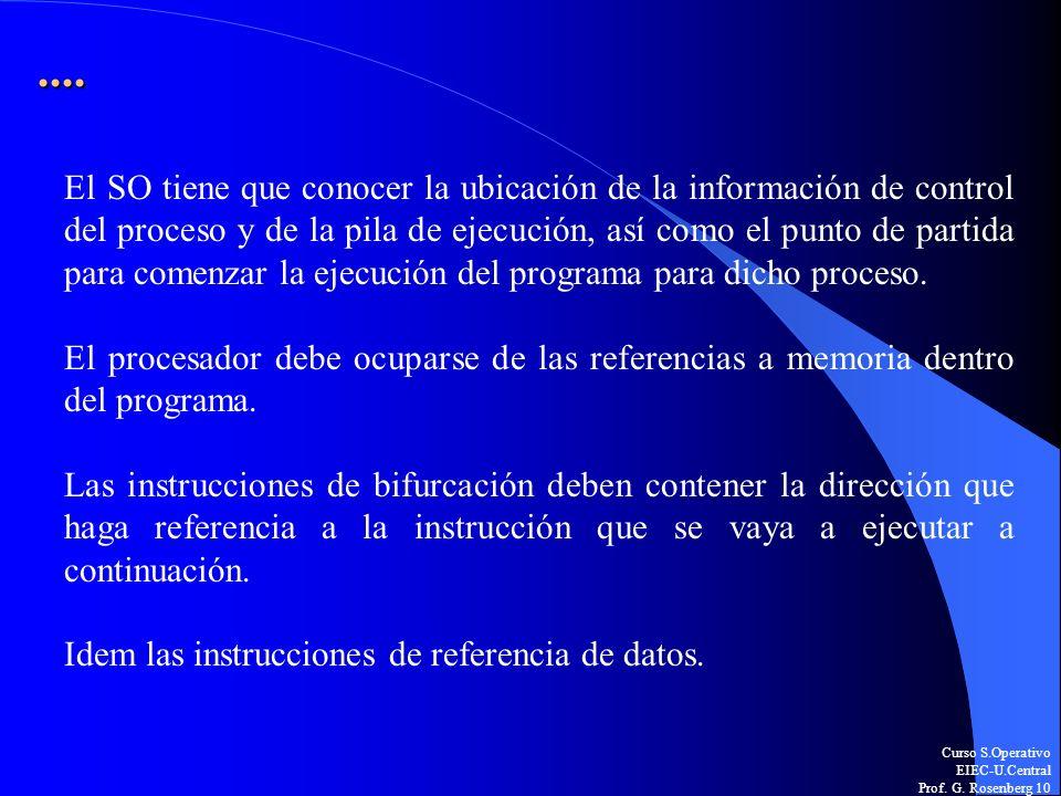 Curso S.Operativo EIEC-U.Central Prof. G. Rosenberg 10.... El SO tiene que conocer la ubicación de la información de control del proceso y de la pila