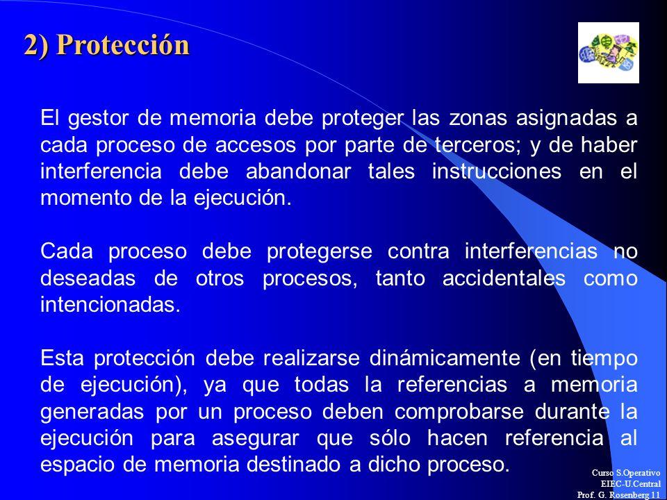 Curso S.Operativo EIEC-U.Central Prof. G. Rosenberg 11 2) Protección El gestor de memoria debe proteger las zonas asignadas a cada proceso de accesos