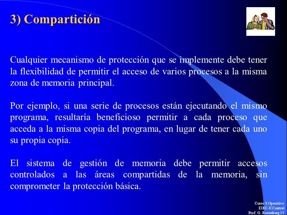 Curso S.Operativo EIEC-U.Central Prof. G. Rosenberg 13 3) Compartición Cualquier mecanismo de protección que se implemente debe tener la flexibilidad