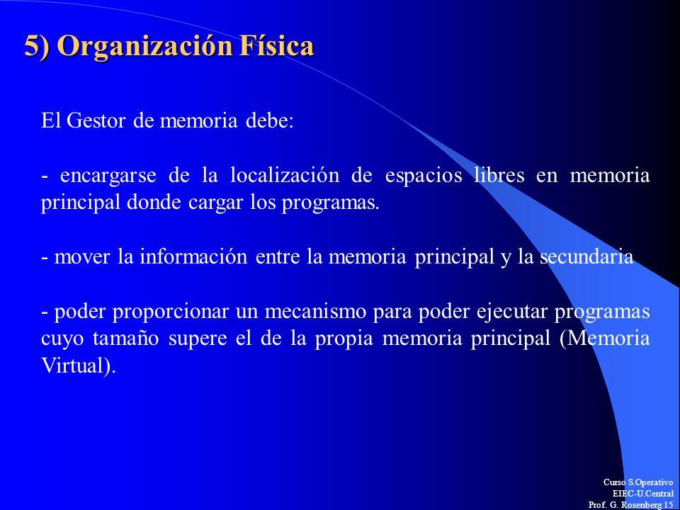 Curso S.Operativo EIEC-U.Central Prof. G. Rosenberg 15 5) Organización Física El Gestor de memoria debe: - encargarse de la localización de espacios l