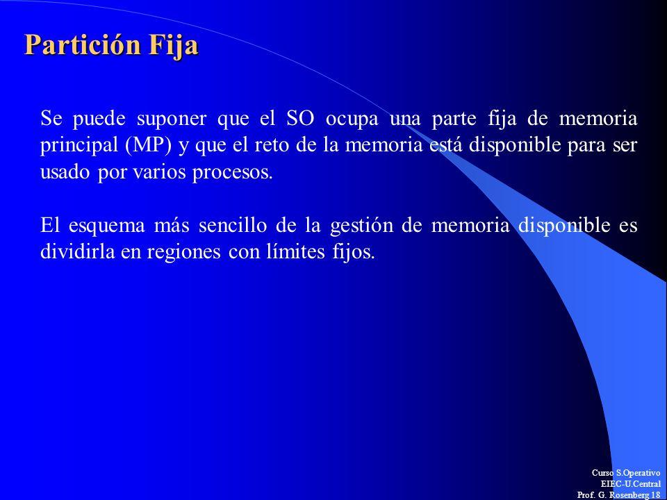 Curso S.Operativo EIEC-U.Central Prof. G. Rosenberg 18 Partición Fija Se puede suponer que el SO ocupa una parte fija de memoria principal (MP) y que