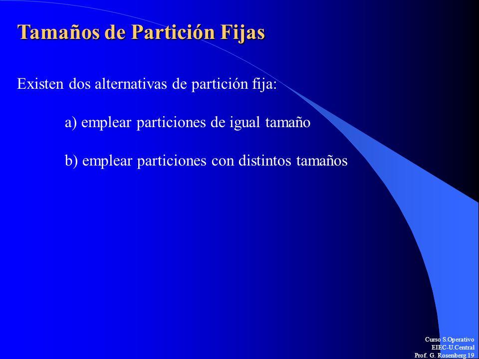 Curso S.Operativo EIEC-U.Central Prof. G. Rosenberg 19 Tamaños de Partición Fijas Existen dos alternativas de partición fija: a) emplear particiones d