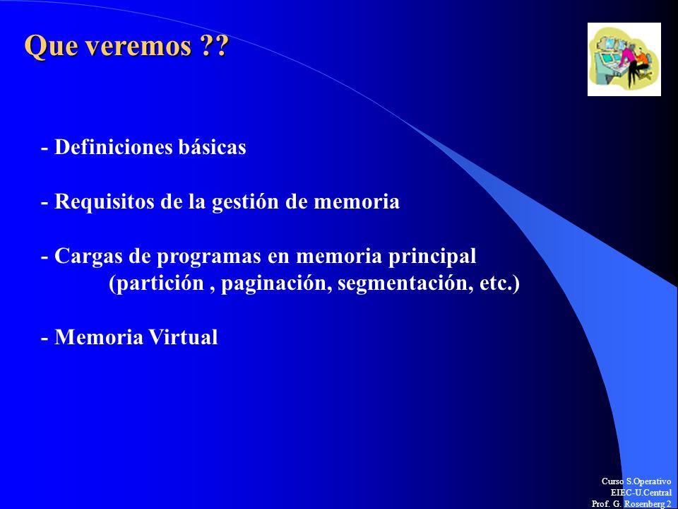Curso S.Operativo EIEC-U.Central Prof. G. Rosenberg 2 Que veremos ?? - Definiciones básicas - Requisitos de la gestión de memoria - Cargas de programa