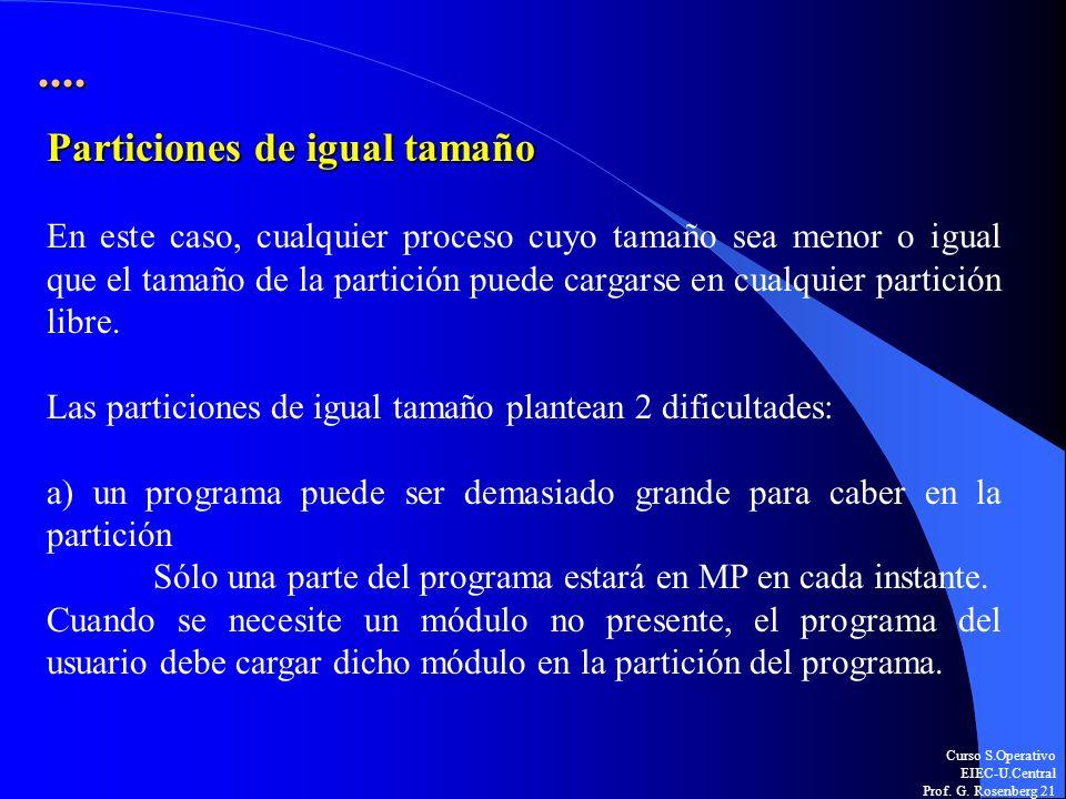 Curso S.Operativo EIEC-U.Central Prof. G. Rosenberg 21.... Particiones de igual tamaño En este caso, cualquier proceso cuyo tamaño sea menor o igual q