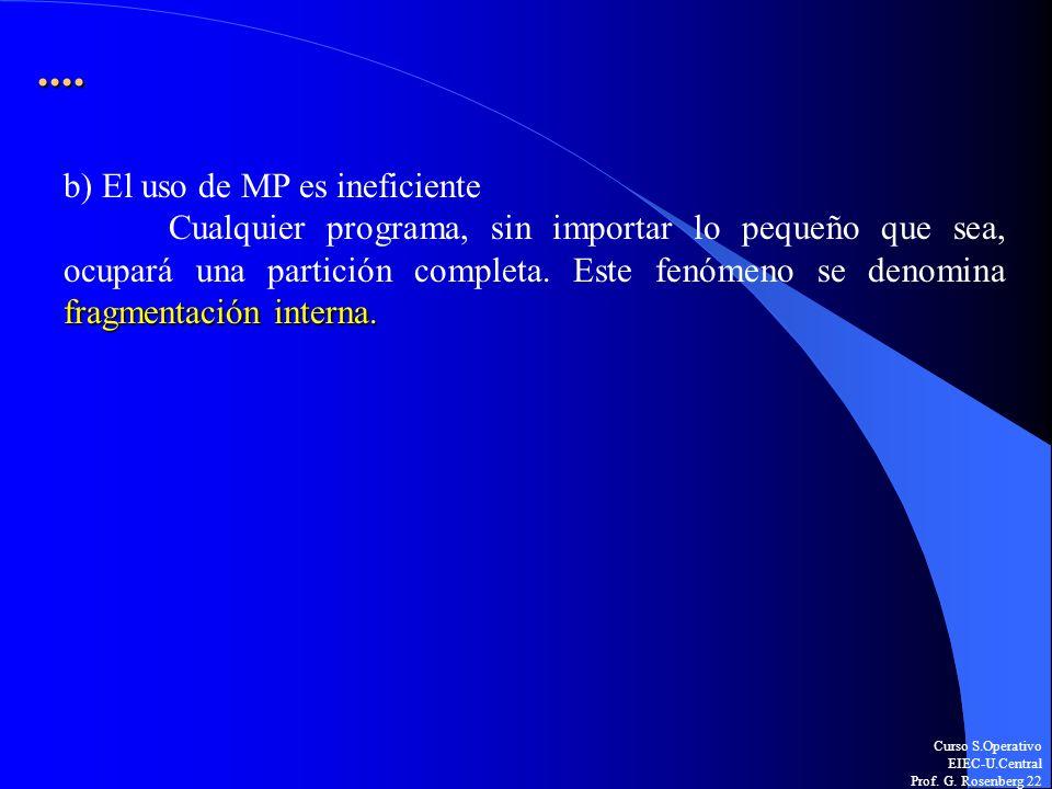 Curso S.Operativo EIEC-U.Central Prof. G. Rosenberg 22.... b) El uso de MP es ineficiente fragmentación interna. Cualquier programa, sin importar lo p