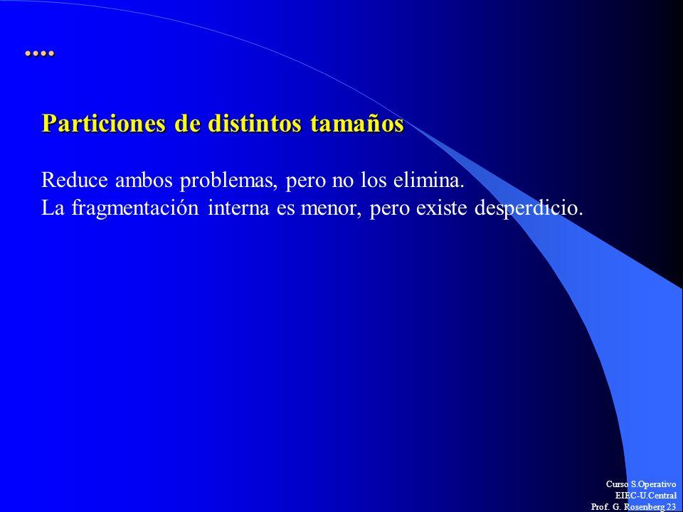 Curso S.Operativo EIEC-U.Central Prof. G. Rosenberg 23.... Particiones de distintos tamaños Reduce ambos problemas, pero no los elimina. La fragmentac