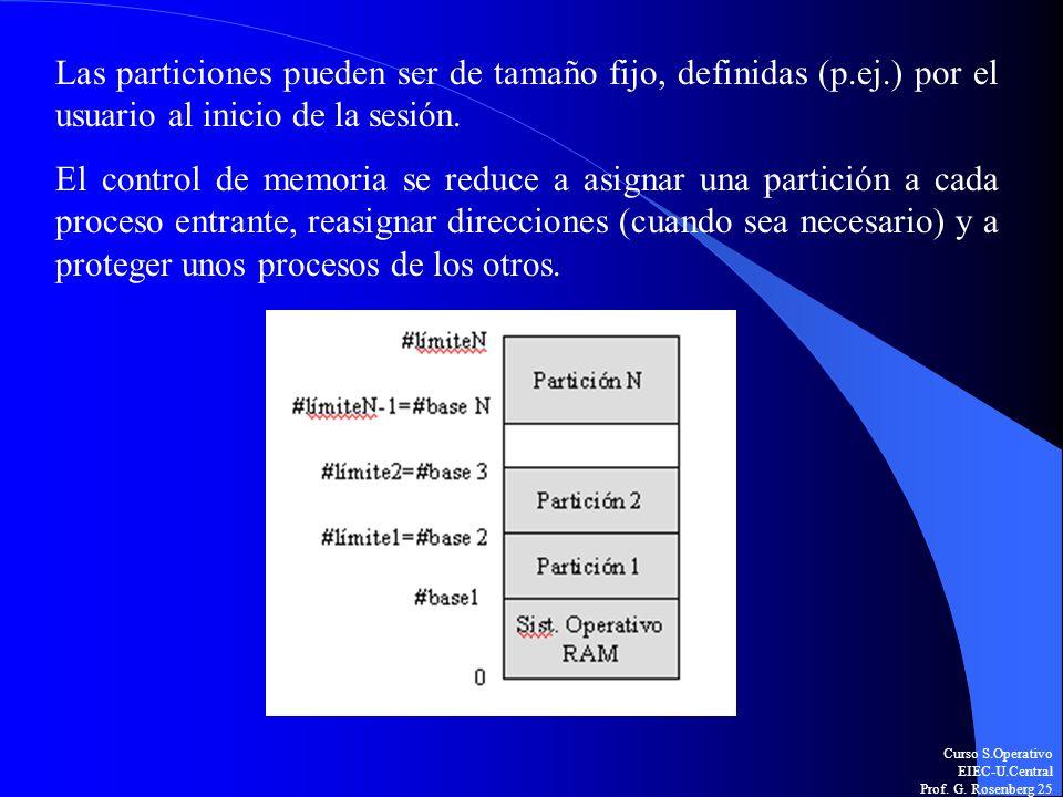 Curso S.Operativo EIEC-U.Central Prof. G. Rosenberg 25 Las particiones pueden ser de tamaño fijo, definidas (p.ej.) por el usuario al inicio de la ses