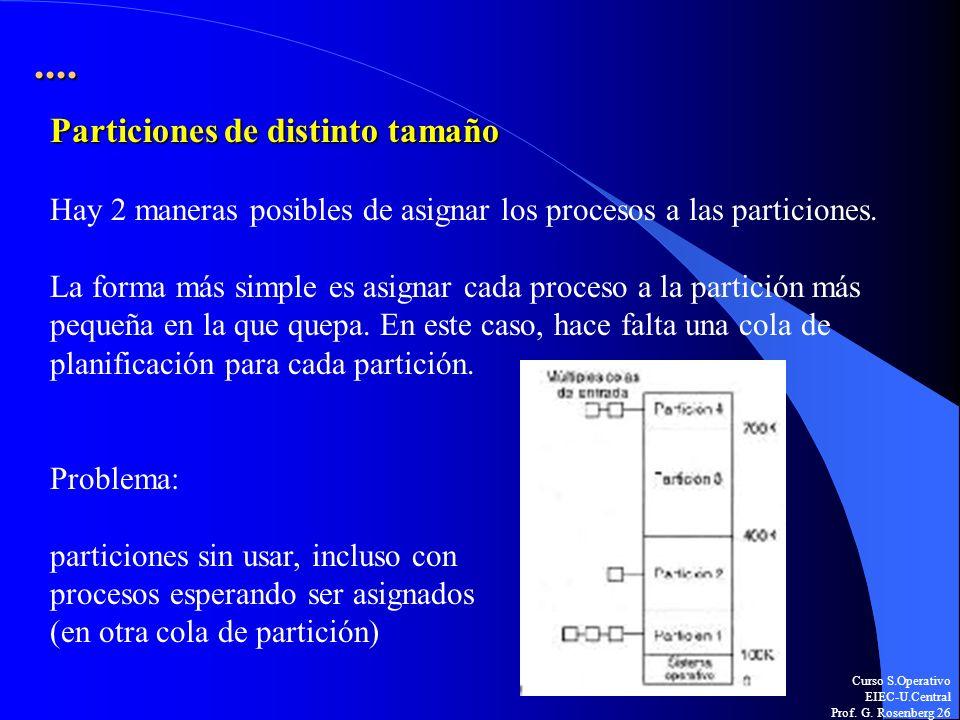 Curso S.Operativo EIEC-U.Central Prof. G. Rosenberg 26.... Particiones de distinto tamaño Hay 2 maneras posibles de asignar los procesos a las partici