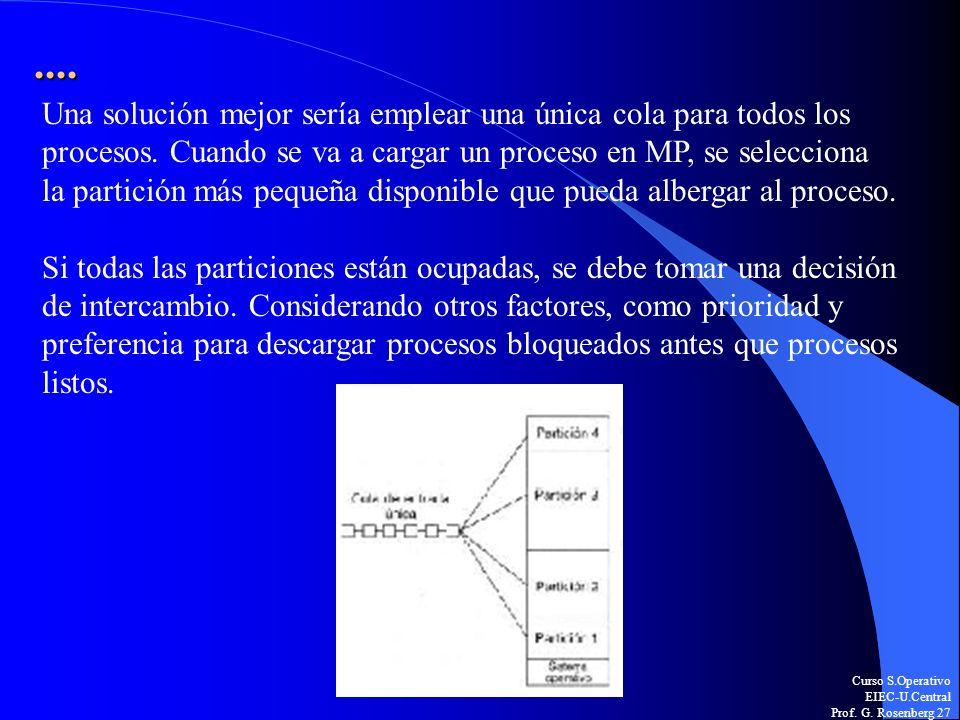 Curso S.Operativo EIEC-U.Central Prof. G. Rosenberg 27.... Una solución mejor sería emplear una única cola para todos los procesos. Cuando se va a car