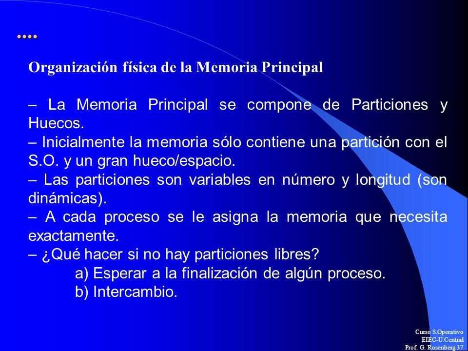 Curso S.Operativo EIEC-U.Central Prof. G. Rosenberg 37.... Organización física de la Memoria Principal – La Memoria Principal se compone de Particione