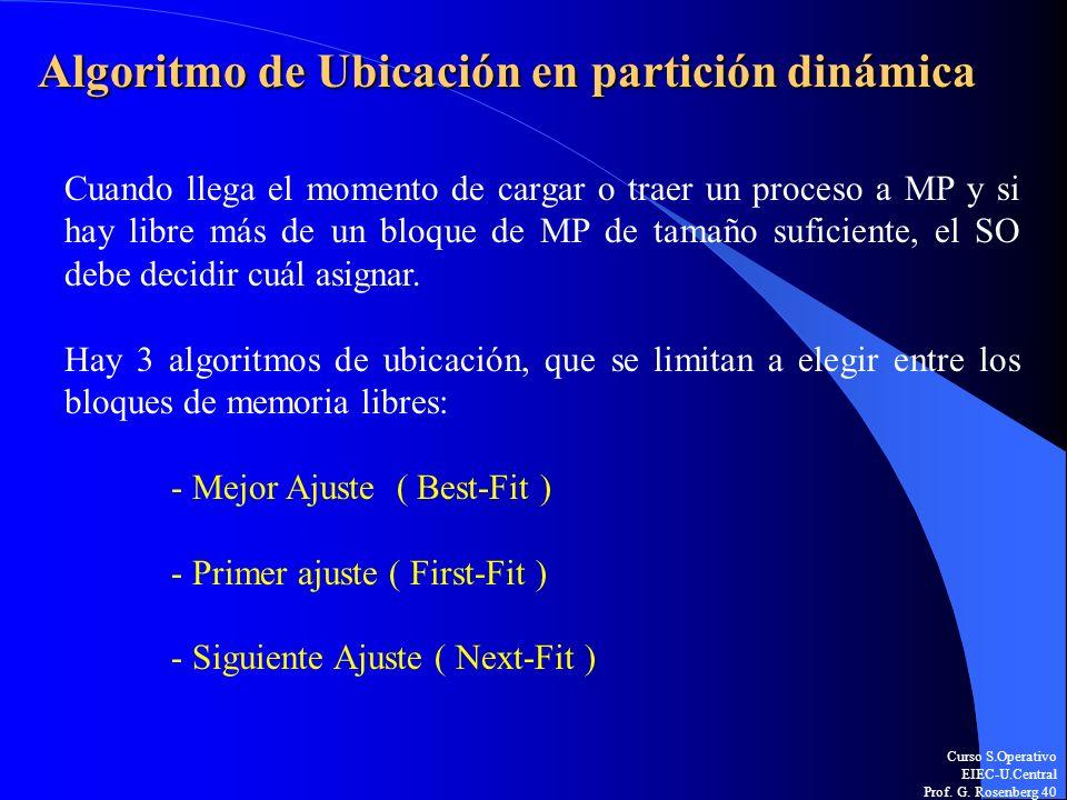 Curso S.Operativo EIEC-U.Central Prof. G. Rosenberg 40 Algoritmo de Ubicación en partición dinámica Cuando llega el momento de cargar o traer un proce